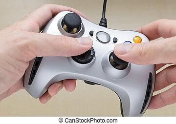 spiel, auf, controller, video, hände, schließen, spielende
