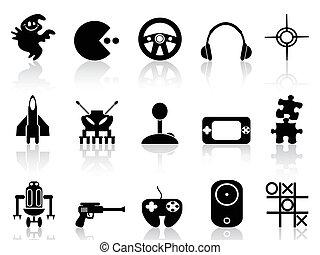 spiel, edv, schwarz, ikone