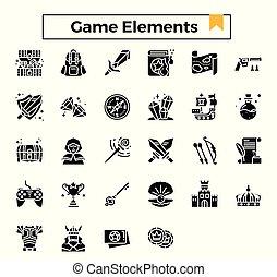 spiel, elemente, glyph, set., ikone