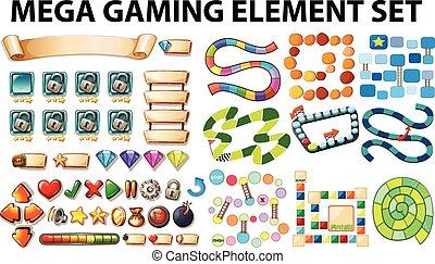 spiel, elemente, schablone
