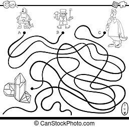 spiel, färbung, labyrinth, seite