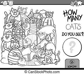 spiel, färbung, zählen, karikatur, seite