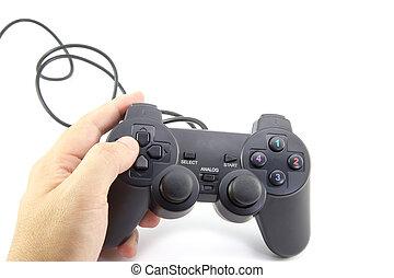 spiel, freigestellt, controller, schwarzer hintergrund, weißes