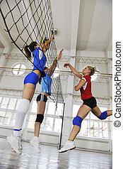 spiel, innen, mädels, spielen von volleyball