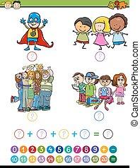 spiel, karikatur, abbildung, mathe