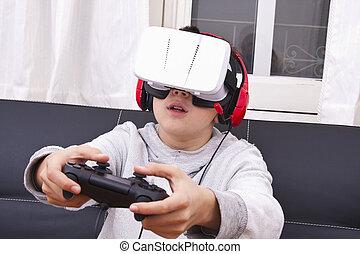 spiel, kind, virtuelle wirklichkeit
