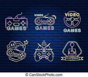 spiel, neon, video