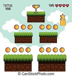 spiel, textanzeige, pixel
