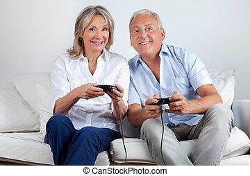spiel, video, paar, spielende