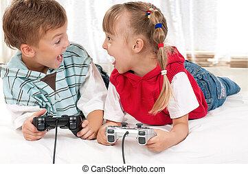 spiel,  video, spielende, familie, glücklich