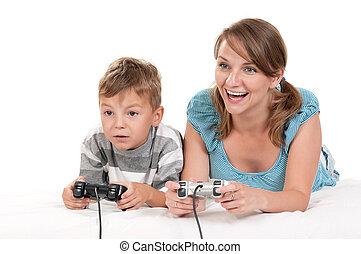 spiel, video, spielende , familie, glücklich