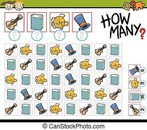 spiel, zählen, karikatur, abbildung