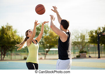 spielen basketball, auf, a, erstes datum