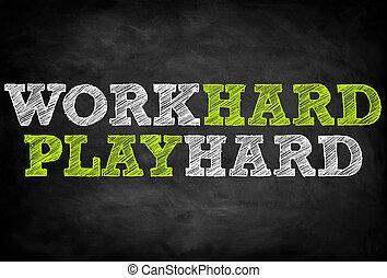 spielen, begriff, harte arbeit, -, tafel
