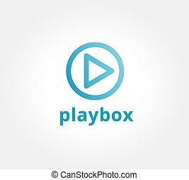 spielen, brandmarken, taste, logotype, abstrakt, vektor, design, schablone, logo, korporativ, concept., ikone