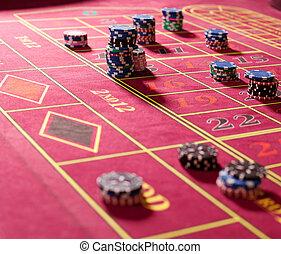 spielen chips, auf, rotes , roulett tisch