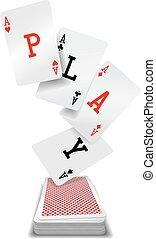 spielen, deck, poker- hand, karten, asse