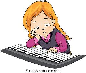 spielen, gelangweilte , m�dchen, kind, klavier