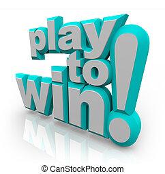 spielen, gewinnen, haltung, ermittlung, wörter, positiv, 3d