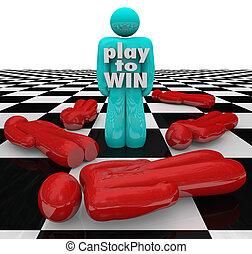 spielen, gewinnen, person, letzter , eins, stehende , gewinner, spiel
