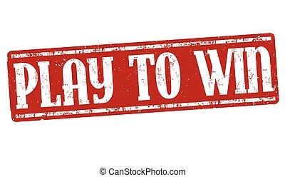 spielen, gewinnen, zeichen, oder, briefmarke
