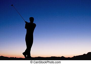 spielen golf, an, dämmern