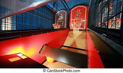 spielen, in, künstlich, basketballspiel, eins, kugel,...
