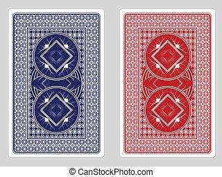 spielen karte, zurück, entwürfe