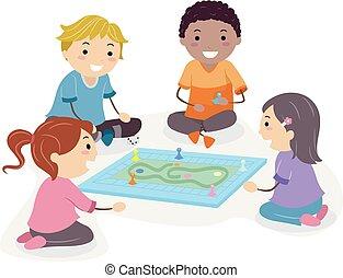 spielen, kinder, stickman, abbildung, spiel- brett