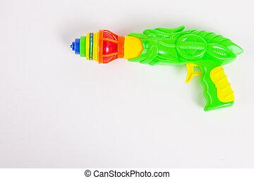 spielen pistole, mit, kreisel, weiß, papier, hintergrund