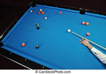 spielen, pro, junger, spiel, billard, mann