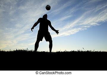 spielen, rückseitiger lit, spieler, zeit, fußball, tag