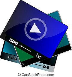 spielen satz, zurück, kontrollen, browser, video, internet,...