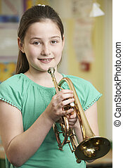 spielen, schule, musik, lernen, m�dchen, trompete, lektion