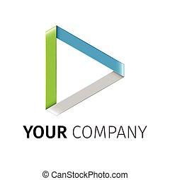 spielen, vektor, logotype, abstrakt, gefärbt