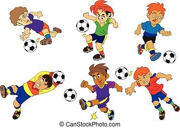 spielen, vektor, sport, karikatur, fußball