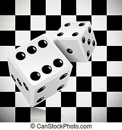 spielen würfel, für, a, kasino, auf, a, durchsichtig, checkered, hintergrund