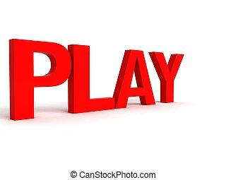 spielen, wort, drei dimensionale, seitenansicht