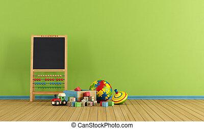 spielen, Zimmer, Spielzeuge