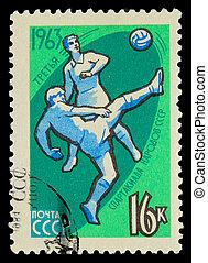 spielen, zirka, terz, briefmarke, udssr, -, 1984:, zwei, spieler, udssr, olympics, gedruckt, fußball, fußball ball, 1984
