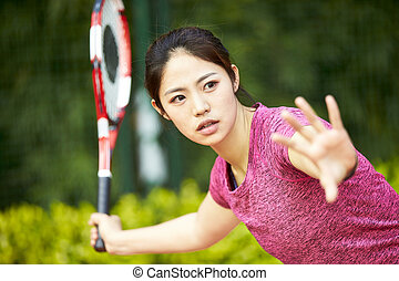 spielende , asiatisch, tennis, frau, junger