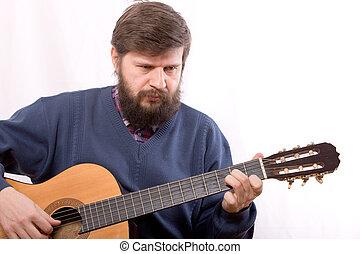 spielende , auf, gitarre