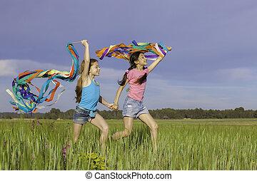 spielende , draußen, glücklich, gesunde, kinder