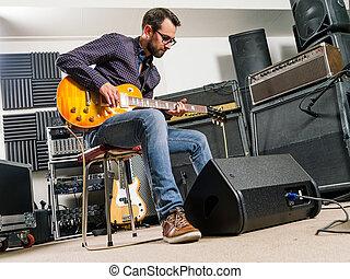 spielende , elektrische gitarre, in, a, studio