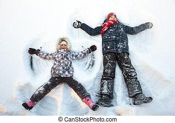 spielende , genießen, geschwister, schnee, winter