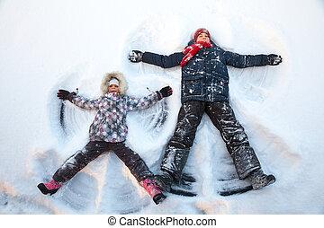 spielende , genießen, schnee, winter, kinder