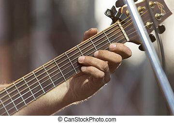 spielende gitarre, bühne
