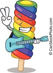 spielende gitarre, bild, eis, regenbogen, creme