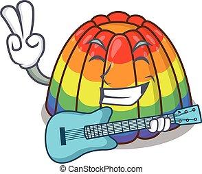 spielende gitarre, bild, regenbogen, gelee