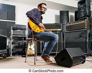 spielende gitarre, in, der, studio